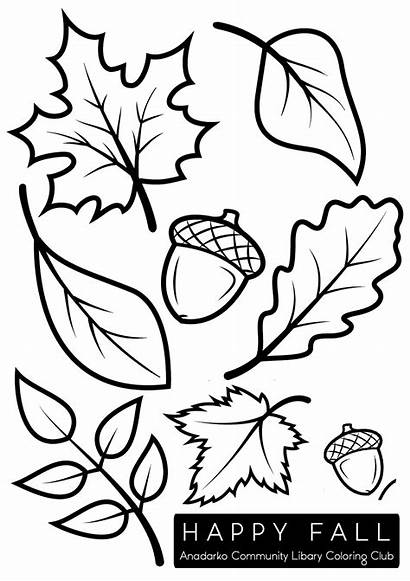 Leaves Coloring Fall Pages Autumn Drawing Clip
