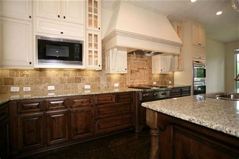 These cabinets provide a nice mix of wood stained lower
