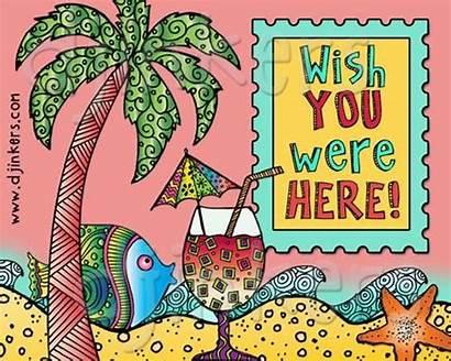 Clipart Beach Were Wish Postcard Clip Ocean
