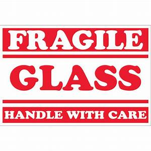 "2"" x 3"" - ""Fragile - Glass - Handle With Care"" Labels ..."