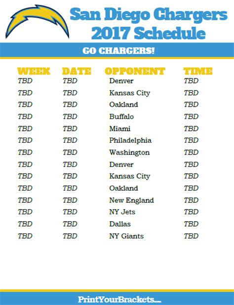 printable san diego chargers schedule  season