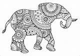 Elephant Patterns Zentangle Paisley Coloring Elephants Shape Adult Animals Nature sketch template