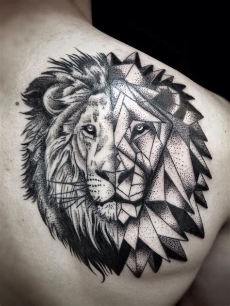 geometric lion head    tattoos