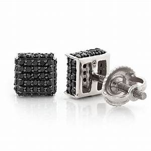 Black Diamond Stud Earrings 0.53ct 10K Gold