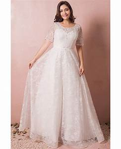 modest lace short sleeve plus size wedding dress with With plus size short wedding dresses with sleeves