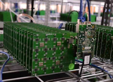 bitcoin cloud mining center bitcoin mining boards packed with asic chips fill the