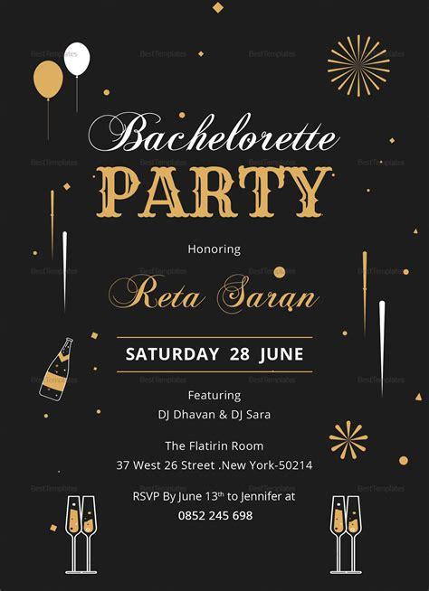 bachelorette party invitation card design template  word