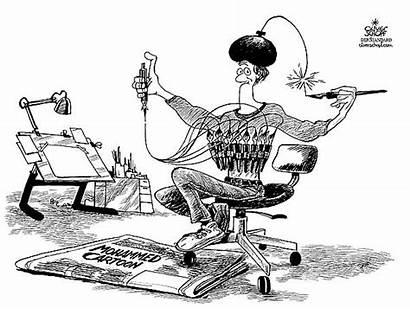 Diverse Themen Mohammed Welt Karikatur Cartoon Schopf