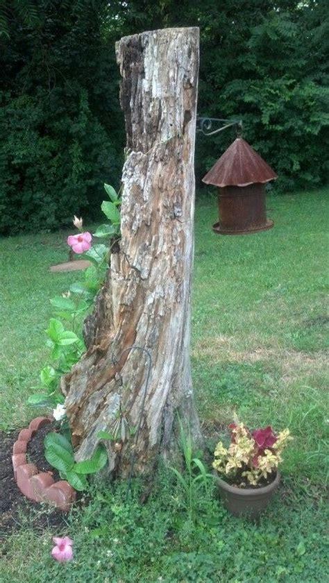 Repurposed Dead Tree Stump! Cute Flower Pot! It Even Has A