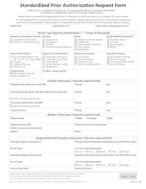 central health prior authorization form fillable online standardized prior authorization brequest