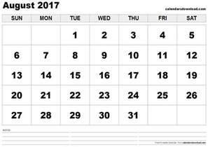 August September Calendar 2017 Printable