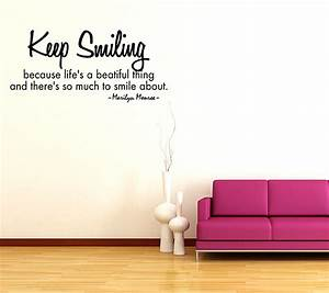 Keep smiling vinyl wall sticker decal quote marilyn monroe