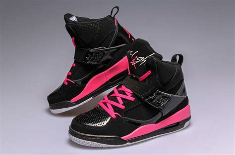 womens jordan flight  high blackvivid pink white