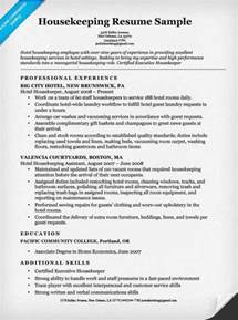 resume for housekeeping in hotel housekeeping resume sle resume companion
