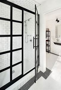 Black Steel Frame Shower Enclosure - Transitional - Bathroom