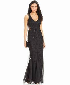 adrianna papell sleeveless beaded mermaid gown juniors With macy s formal dresses for weddings
