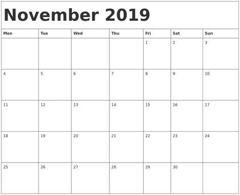 november  calendar template