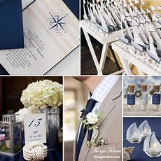 Nautical Wedding Theme In Navy Blue & Bisque Things
