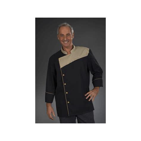 veste de cuisine noir veste de chef et beige fermeture mixte manches