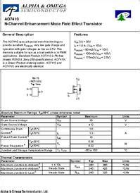 mosfet ao7410 by chacha parts ao7410 datasheet n channel enhancement mode field effect
