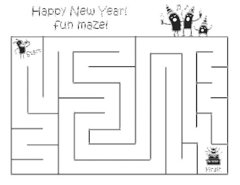 years maze  printable coloring pages