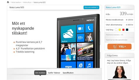 Nokia Lumia 920 Contract Price at Telenor Sweden Unveiled