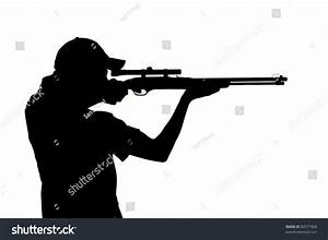 Silhouette Young Man Ponytail Shooting Rifle Stock Photo ...