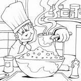 Coloring Colouring Cook Cooking Printable Jobs Chef Drawing sketch template