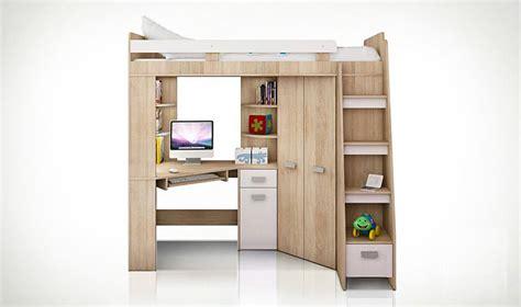 lit mezzanine avec bureau et armoire lit combin en hauteur enfant avec bureau et armoire en bois