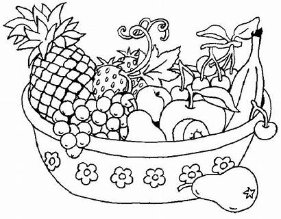 Coloring Pages Fruit Fruits Printable Vegetables Bowl