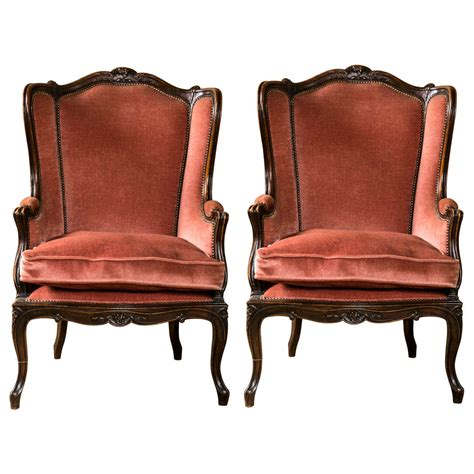 pair of louis xv style wingback chairs at 1stdibs