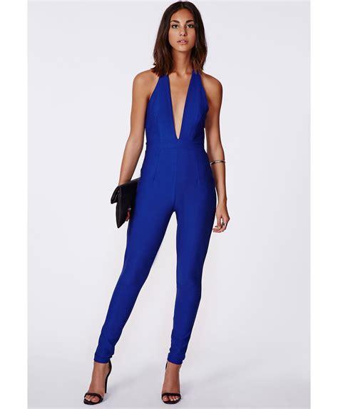 cobalt blue jumpsuit missguided madeleine halterneck jumpsuit in cobalt blue in