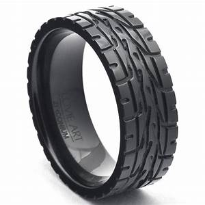 men39s wedding bands eagle f1 super car tire tread ring black With mens car wedding rings