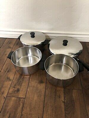 vintage  piece revere ware  copper clad  stainless cookware set ebay