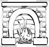 Fireplace Brick Coloring Log Burning Outline Clipart Wood Stove Template Royalty Illustration Pages Clip Rf Nortnik Andy Sketch Templates sketch template