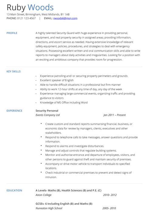 Resume For Security Guard by Pin By Kamau On Nhoj Sle Resume Security Resume
