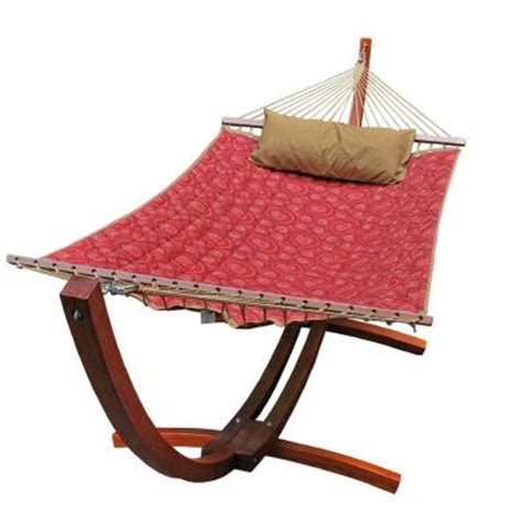 hammock home depot 12 ft polyester quilted hammock and pillow with wooden