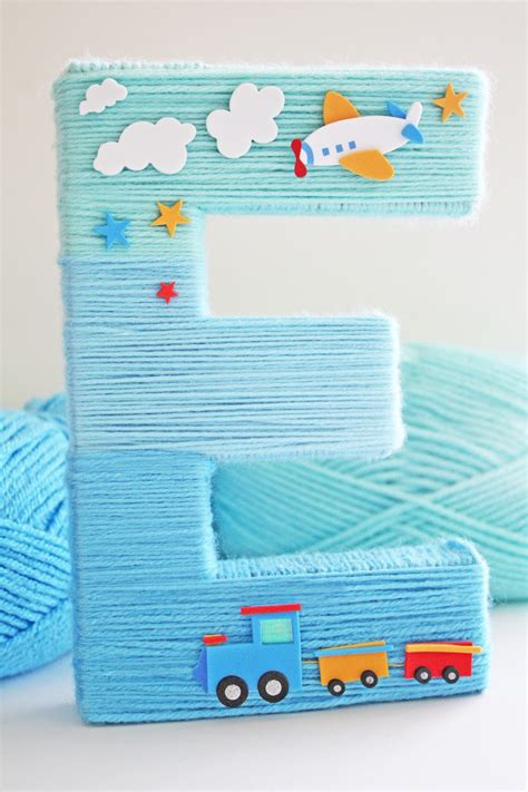 blue yarn wrapped ombre monogram letter catch  party