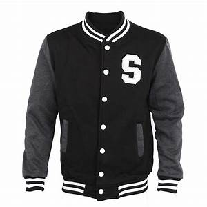 men long sleeve letter print casual varsity jacket black With letter m varsity jacket