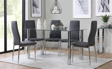 lunar chrome  glass dining table   renzo grey