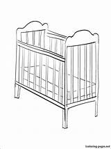 Cot Coloring Crib Pages Furniture Template Printable Fond Templates Pieces Those sketch template