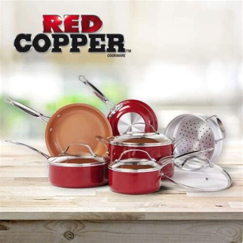 bulbhead red copper  pc copper infused ceramic  stick cookware set crafted copper