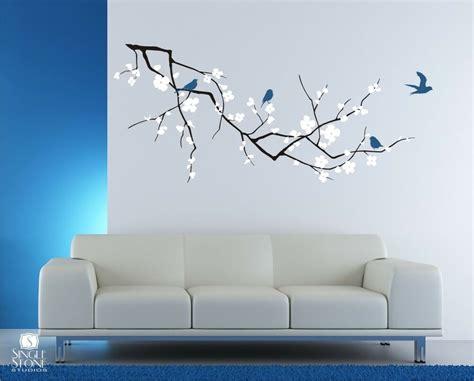 wall decals cherry blossom  birds  colors vinyl
