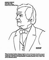 Johnson Andrew Coloring Presidents President Printables Usa sketch template
