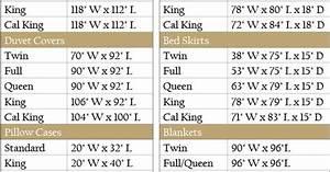 Bedding Size Chart