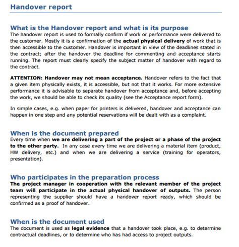 handover report templates word excel  formats