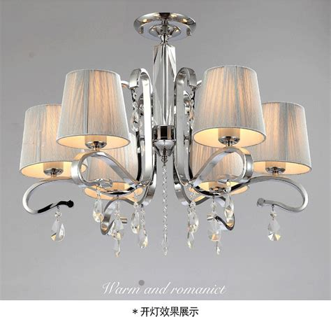 chandelier glass l shades new fabric shade glass crystal 6 arm white crystal