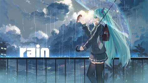Full Hd Wallpaper Hatsune Miku Sad Umbrella Heavy Rain