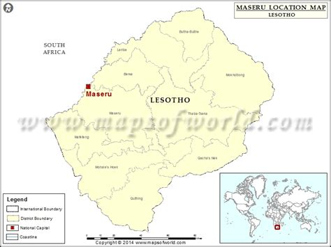 Location Of Maseru In Lesotho Map