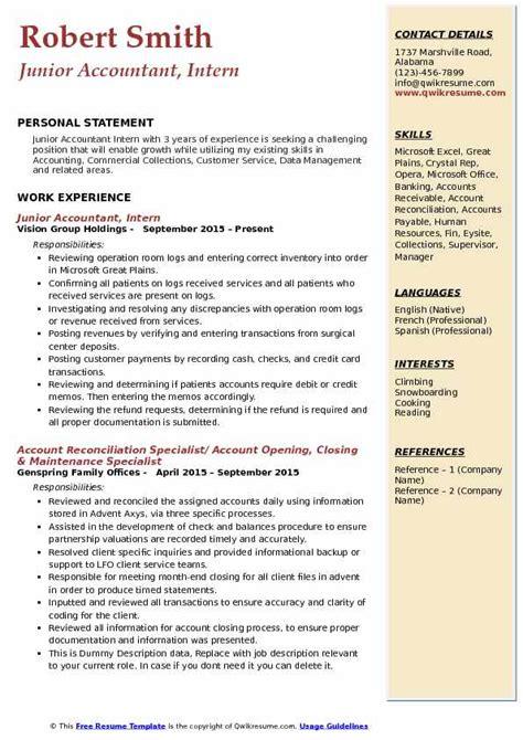 junior accountant resume samples qwikresume